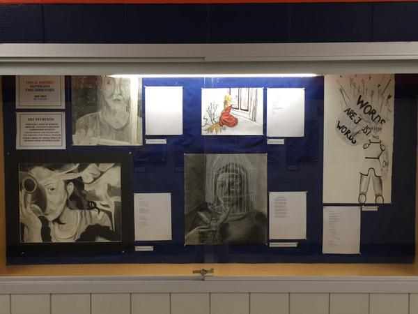 Art 2 students illustrated poems from Mr. Valvano's advanced composition students. Awesome collaboration!